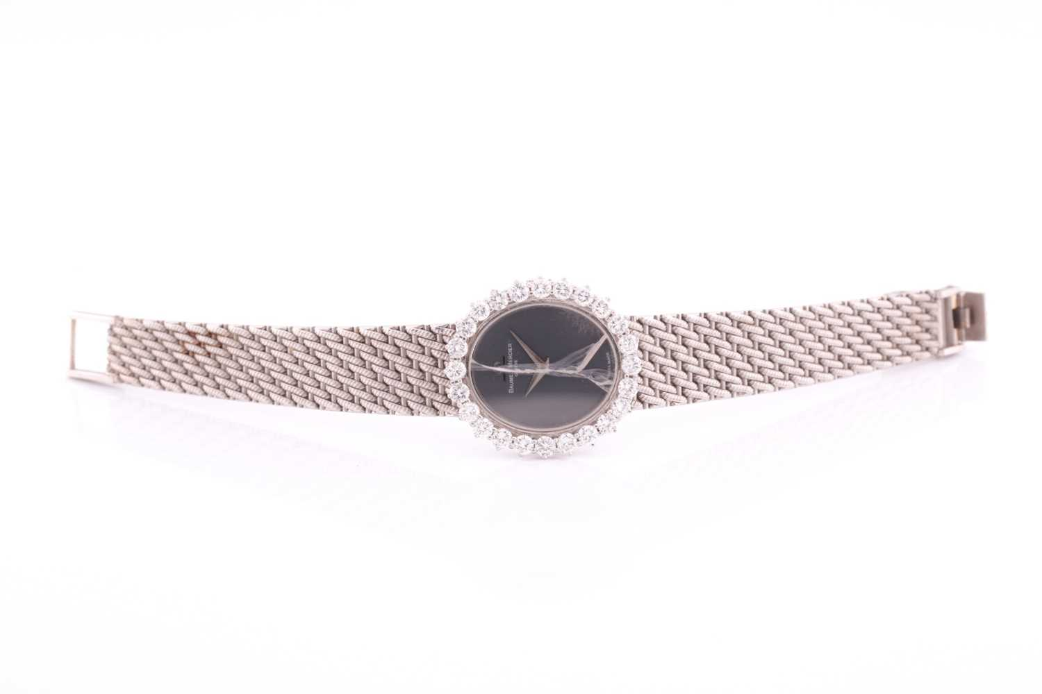 A white metal ladies Baume and Mercier wristwatch, the bezel set with round brilliant-cut diamonds - Image 2 of 3