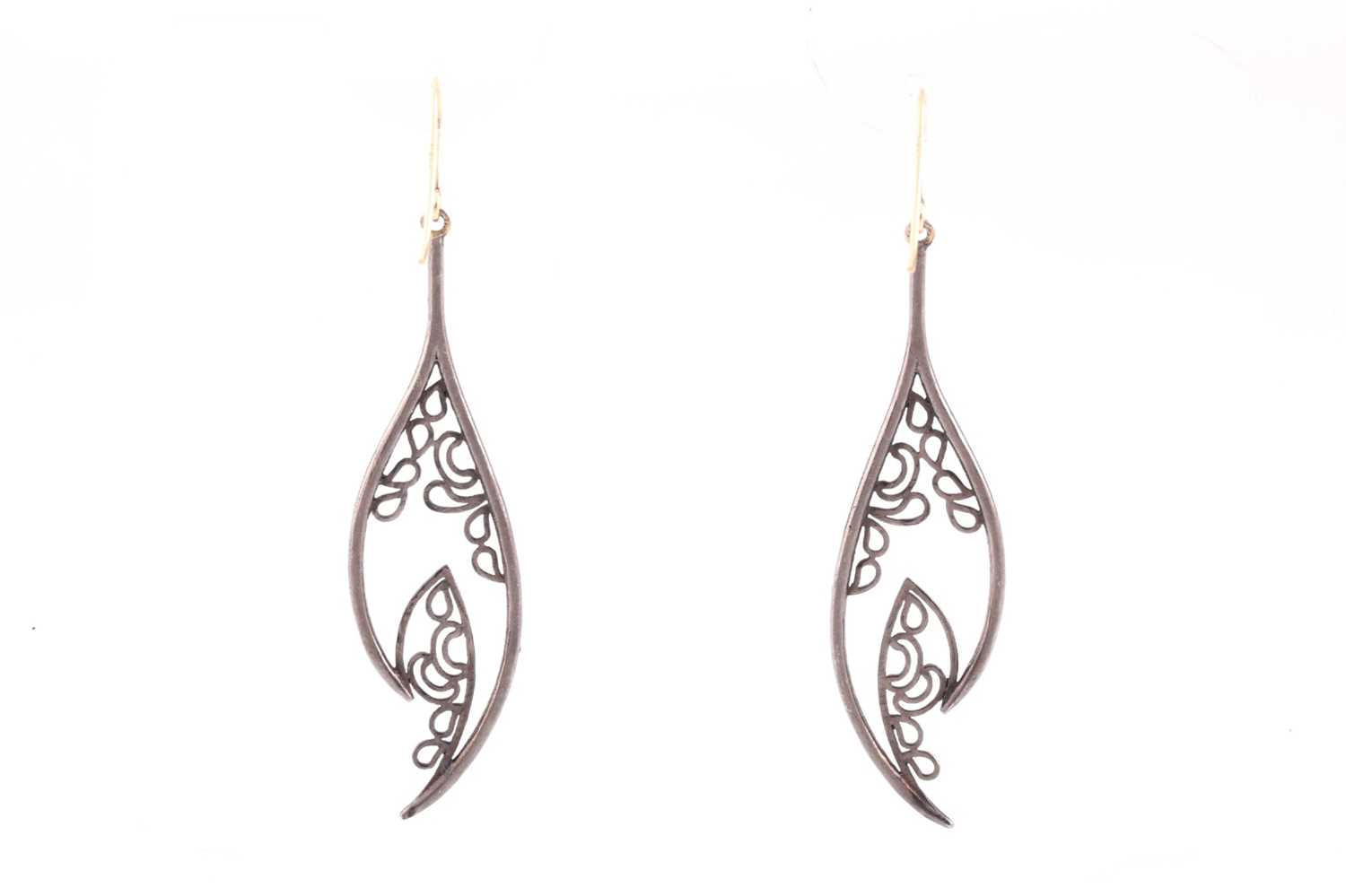 A pair of diamond drop earrings, the silvered openwork mounts inset with mixed old and rose-cut - Image 2 of 2