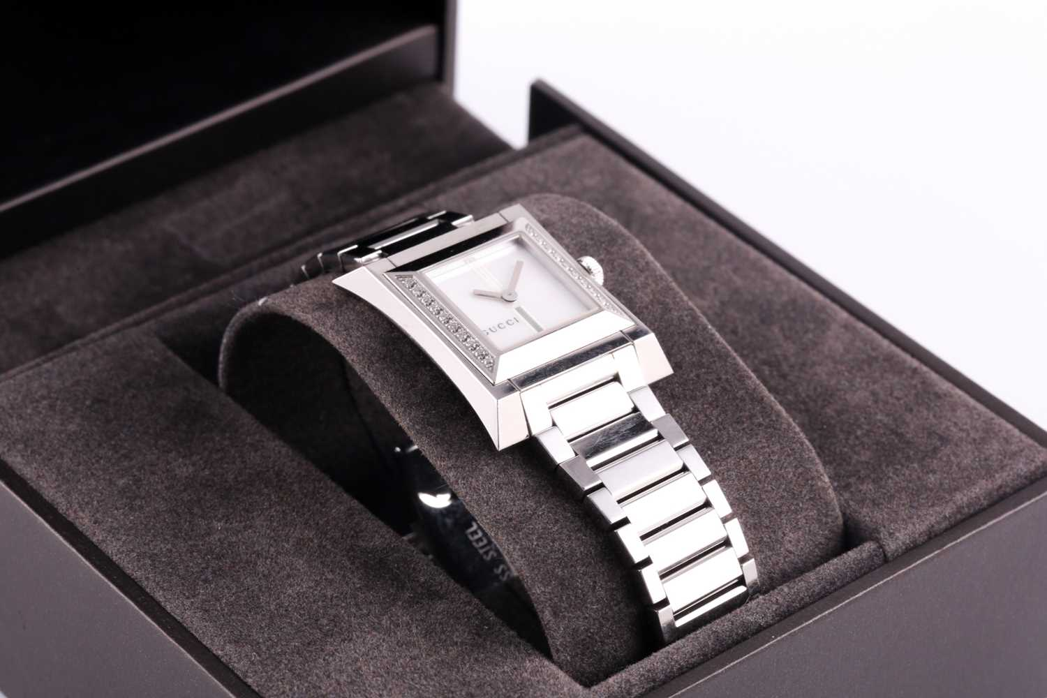 A ladies stainless steel watch by Gucci, with mother-of-pearl square dial, small diamonds set to - Image 3 of 10