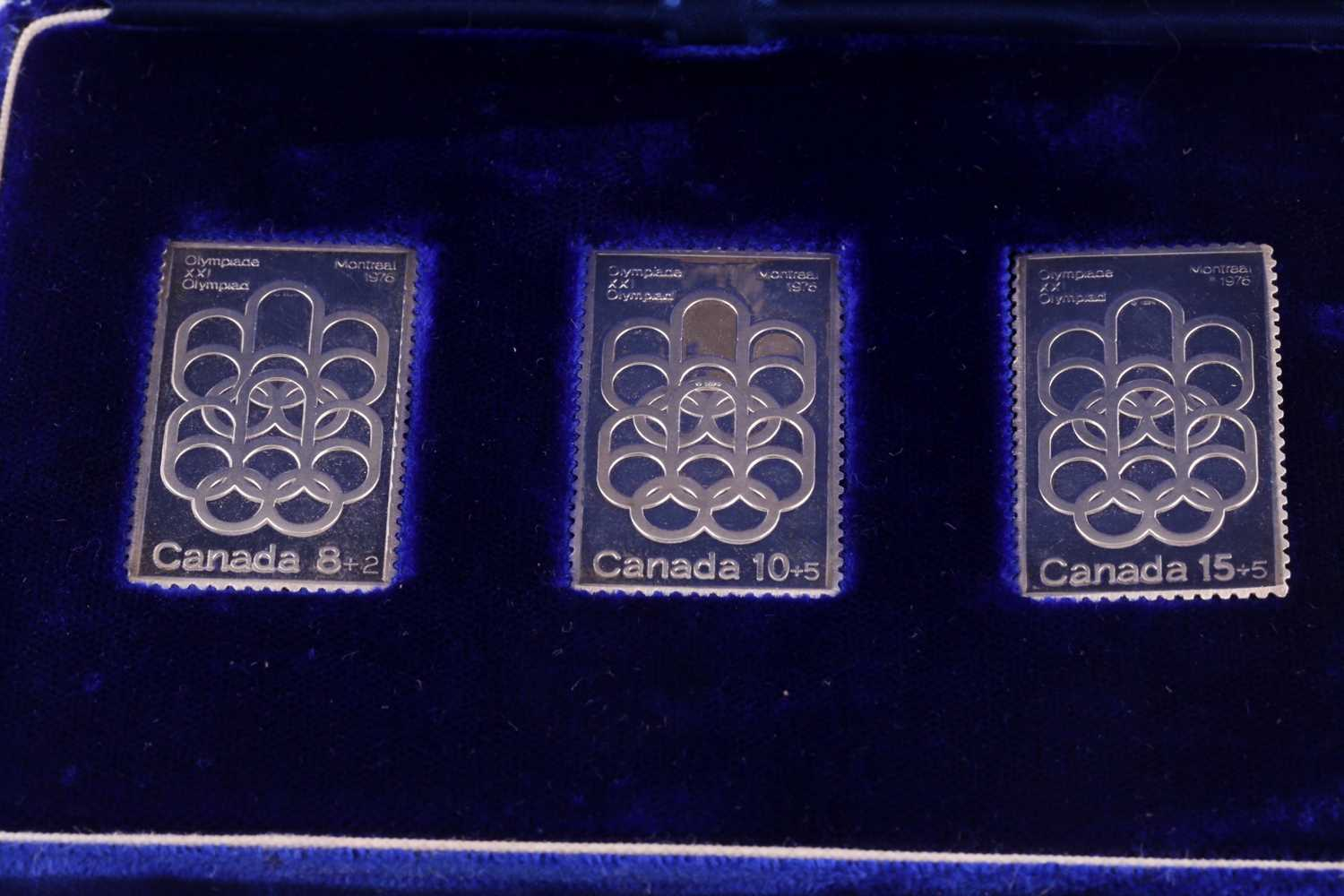 A cased set of three silver ingots, designed as stamps, in honour of the 1976 Summer Olympics, - Image 6 of 8