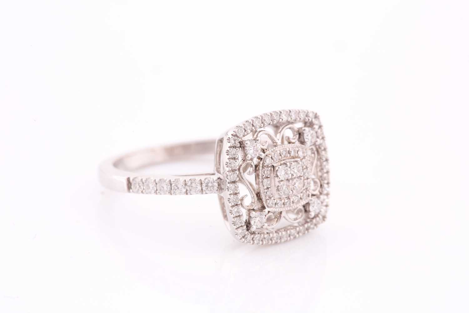 An 18ct white gold and diamond ring, the openwork mount with filigree style decoration, inset with - Image 3 of 4