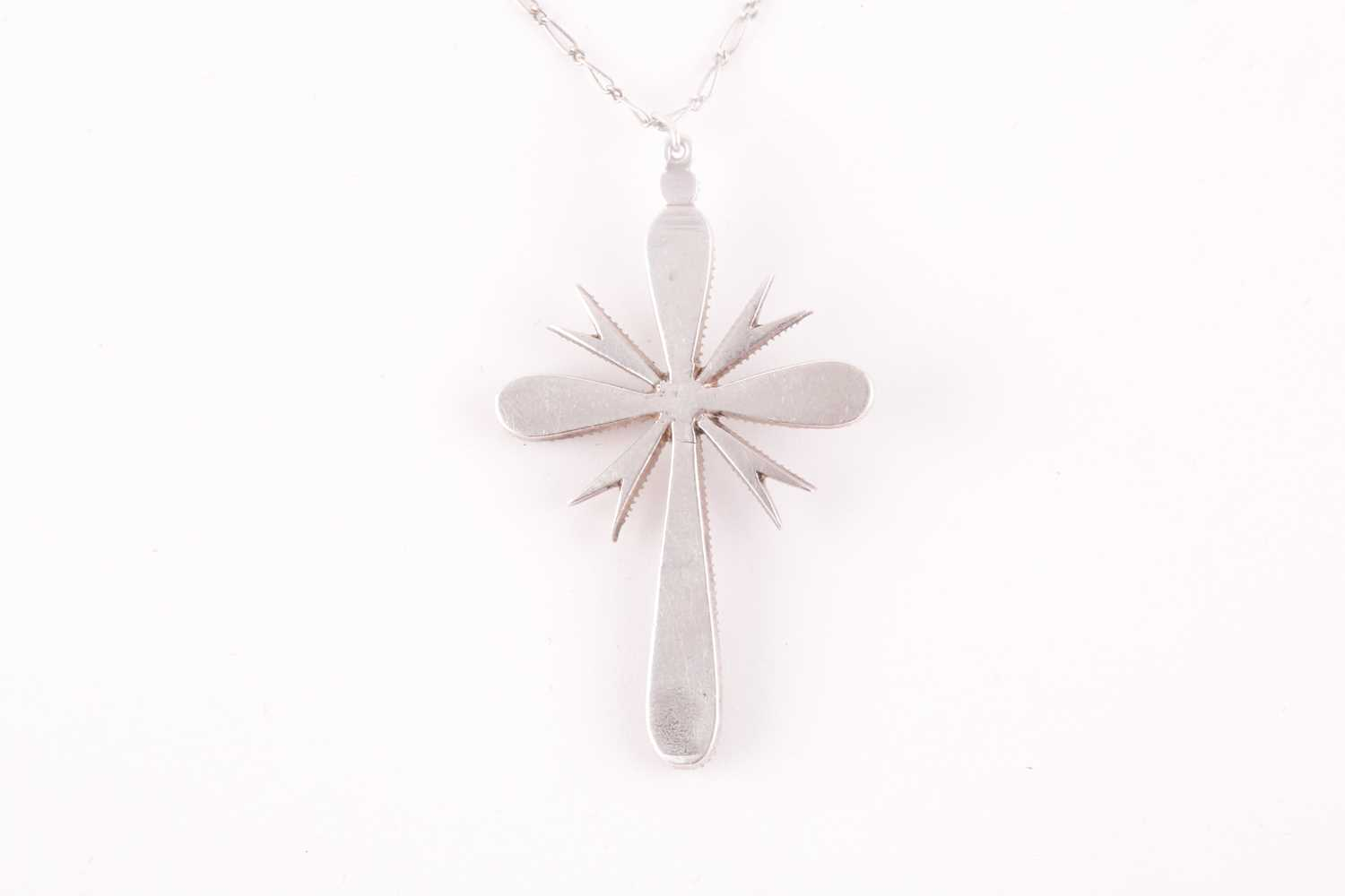 A white metal and diamond cross pendant, set with mixed rose-cut diamonds, 4.5 x 2.9 cm, unmarked, - Image 3 of 4