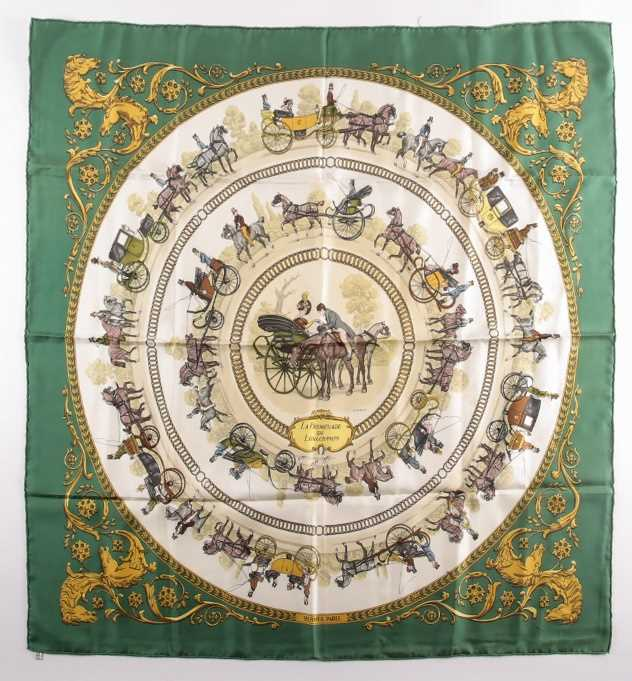 A Hermes silk square scarf printed with La Promenade De Longchamps pattern in yellow and tones of - Image 2 of 8