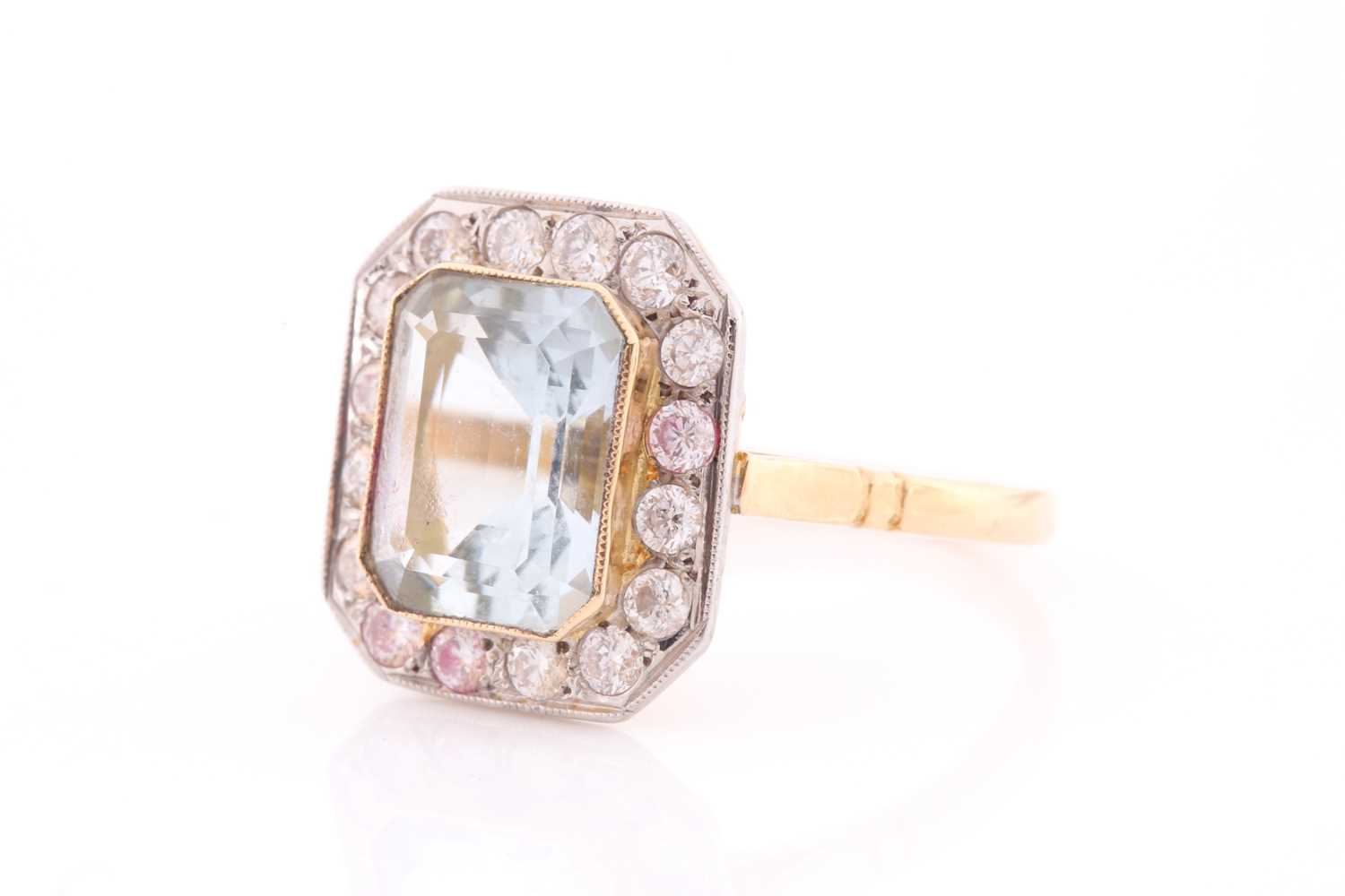 A diamond and aquamarine ring, set with an emerald-cut aquamarine of approximately 2.30 carats, - Image 4 of 4
