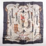 """A Hermes silk square scarf printed with coaching scenes on a pink ground, together with another """"A"""