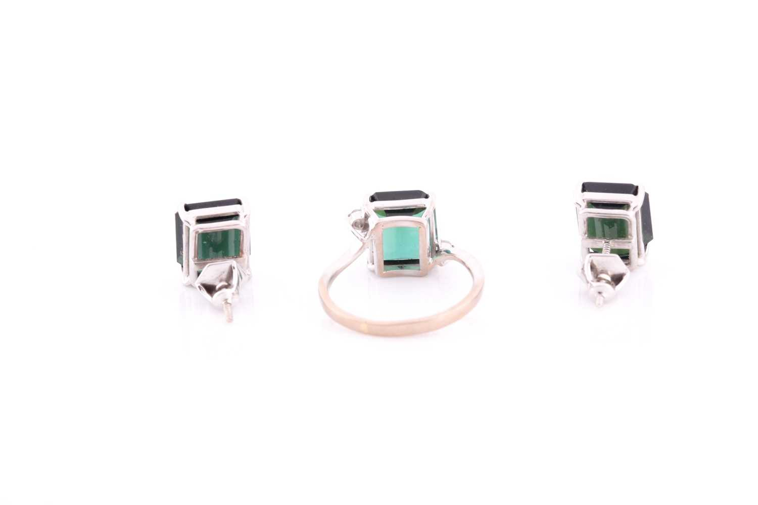 An 18ct white gold, diamond, and synthetic green gemstone ring, size M, together with a pair of 18ct - Image 2 of 3
