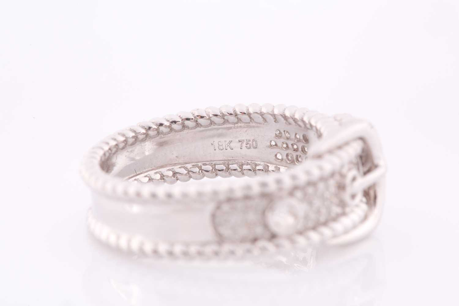 An 18ct white gold and diamond buckle ring, the mount pave-set with round brilliant-cut diamond - Image 3 of 5