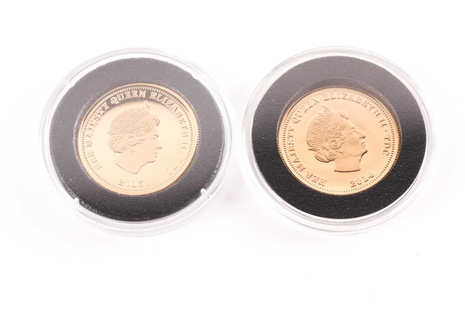 Two boxed 9ct gold proof Double Crowns, commemorating the birth of Prince George (2014) and - Image 3 of 8