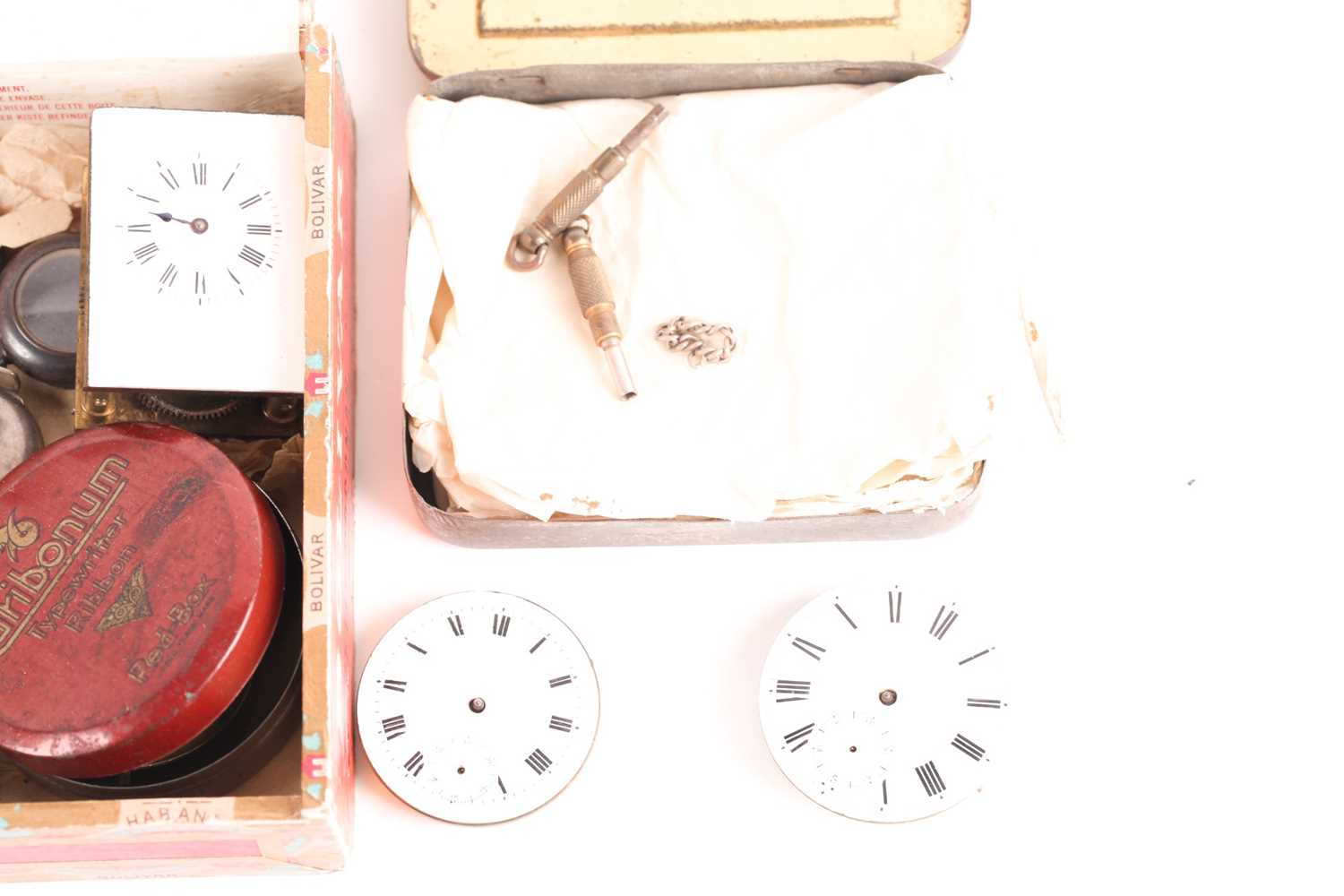 A quantity of watch and clock parts including a number of silver watch cases, several enamel dials - Image 5 of 5