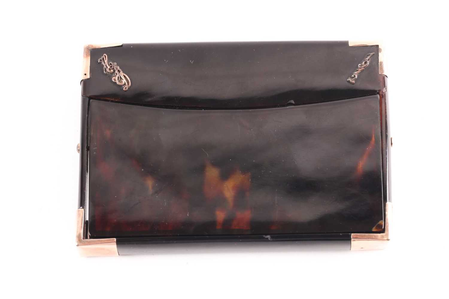 An early 20th century rose gold mounted tortoiseshell card case; rectangular envelope style with