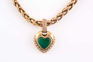 An 18ct yellow gold, diamond, and green stone heart-shaped pendant, with pave-set diamond suspension
