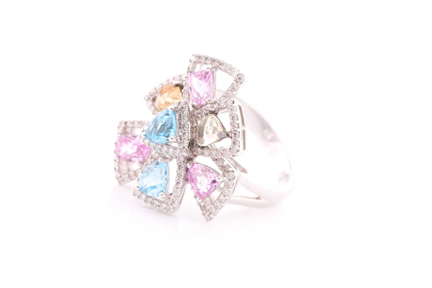 An 18ct white gold, diamond, and multi-coloured topaz ring of geometric floral form, the openwork - Image 2 of 5
