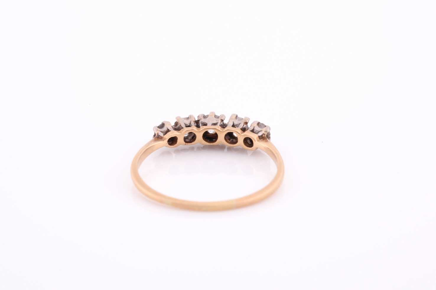 An 18ct yellow gold and diamond ring, set by five old-cut diamonds, the central stone of - Image 4 of 4