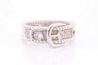 An 18ct white gold and diamond buckle ring, the mount pave-set with round brilliant-cut diamond