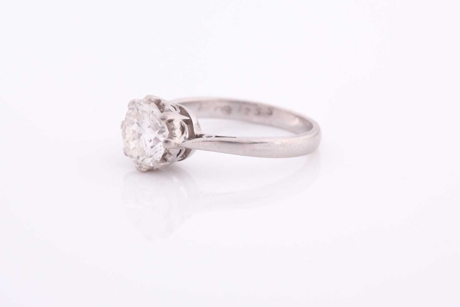A round brilliant-cut solitiare diamond ring, the diamond of approximately 1.50 carats, - Image 2 of 4
