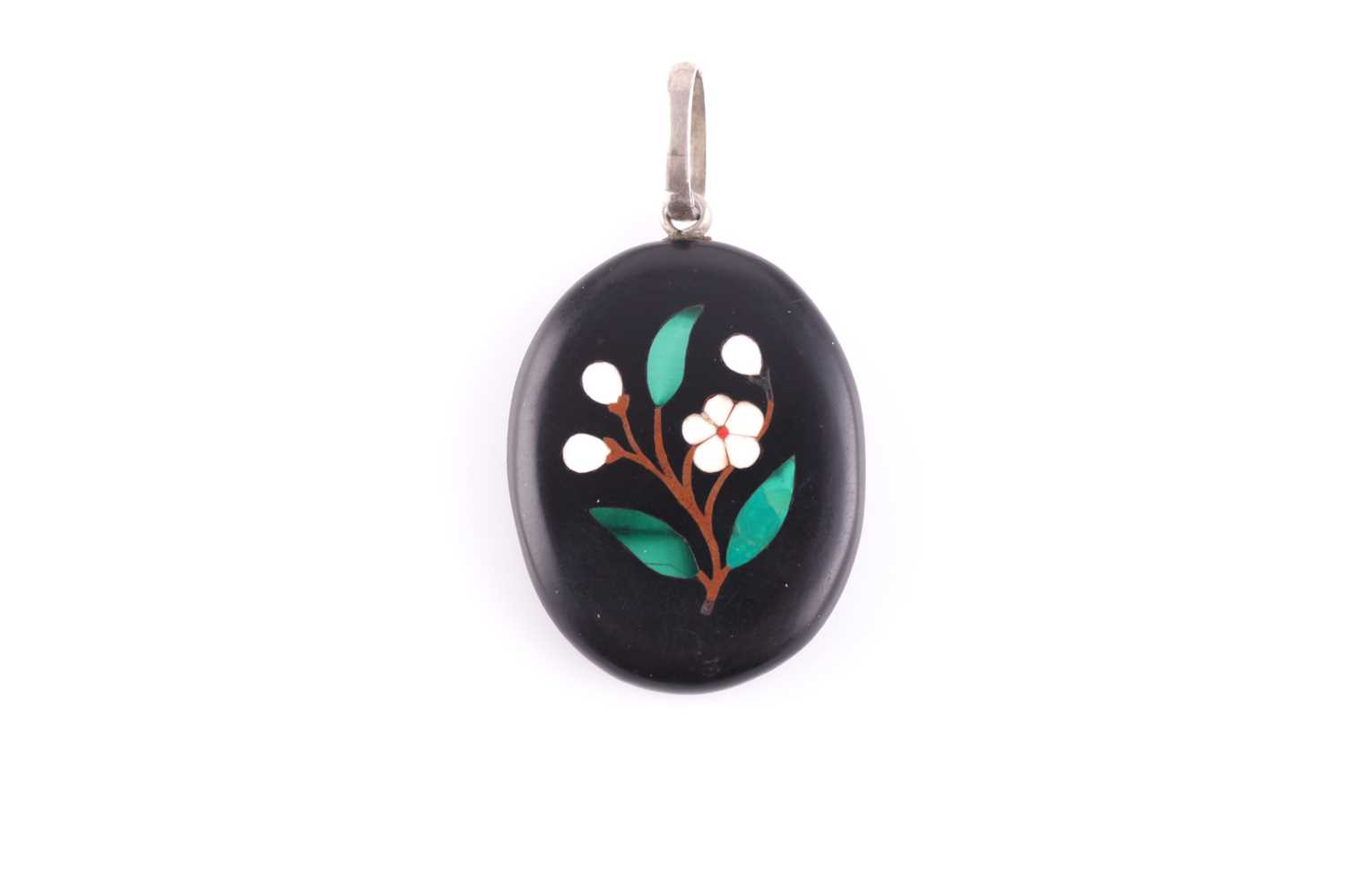A silver and black hardstone pendant locket, the back inset with a pietra dura design of a flower