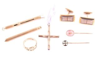 A group of gentleman's jewellery items, including a pair of 14ct yellow gold and smoky quartz