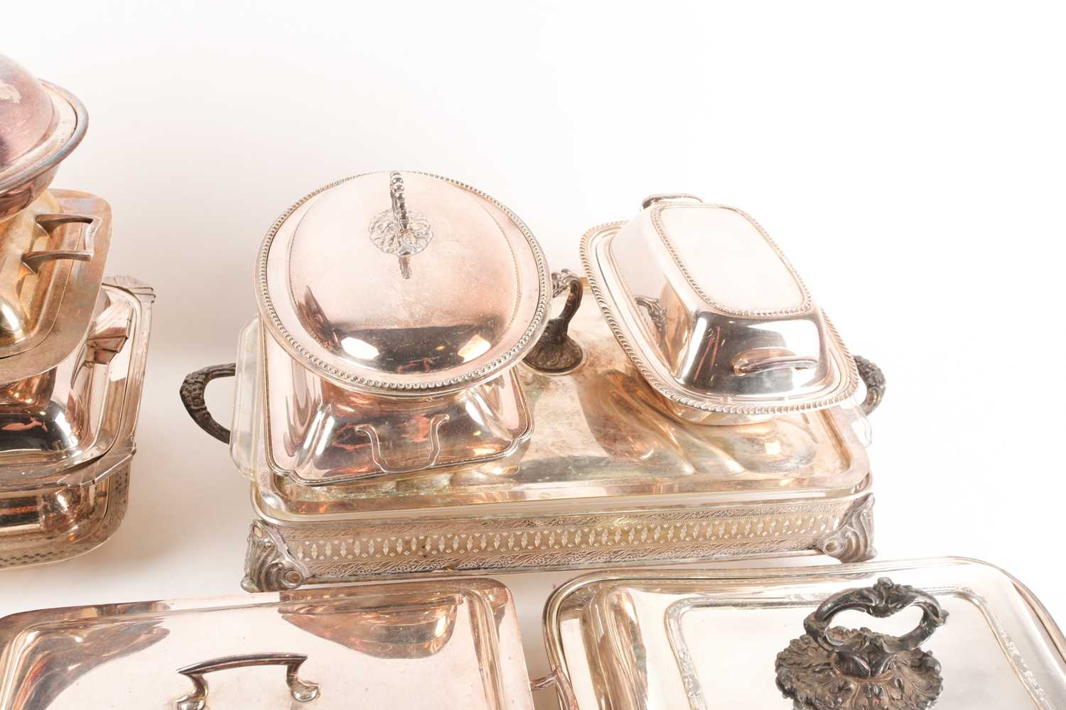 A pair of 19th century silver plated tureens and covers, the covers with shield shape cartouch - Image 3 of 5