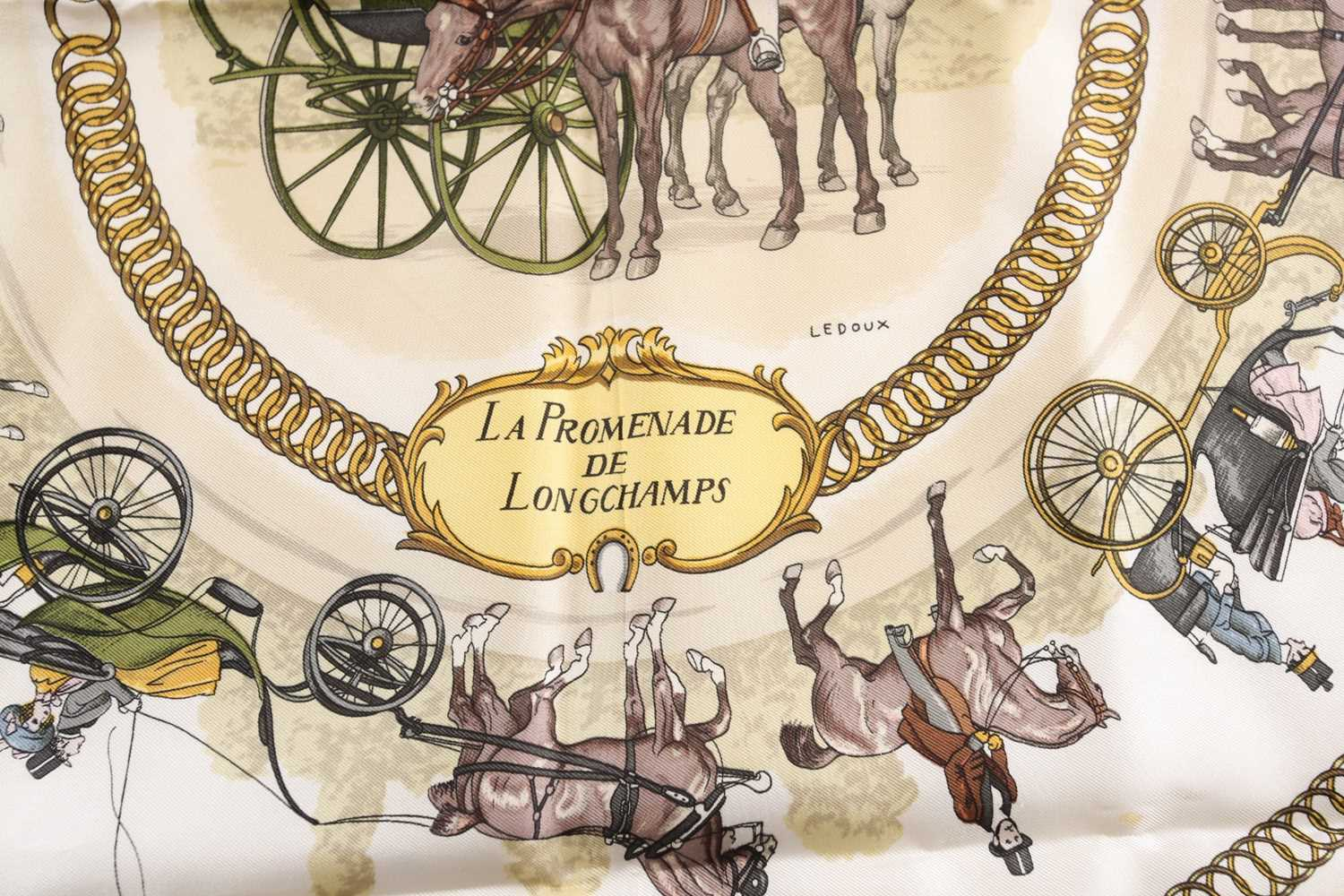 A Hermes silk square scarf printed with La Promenade De Longchamps pattern in yellow and tones of - Image 4 of 8