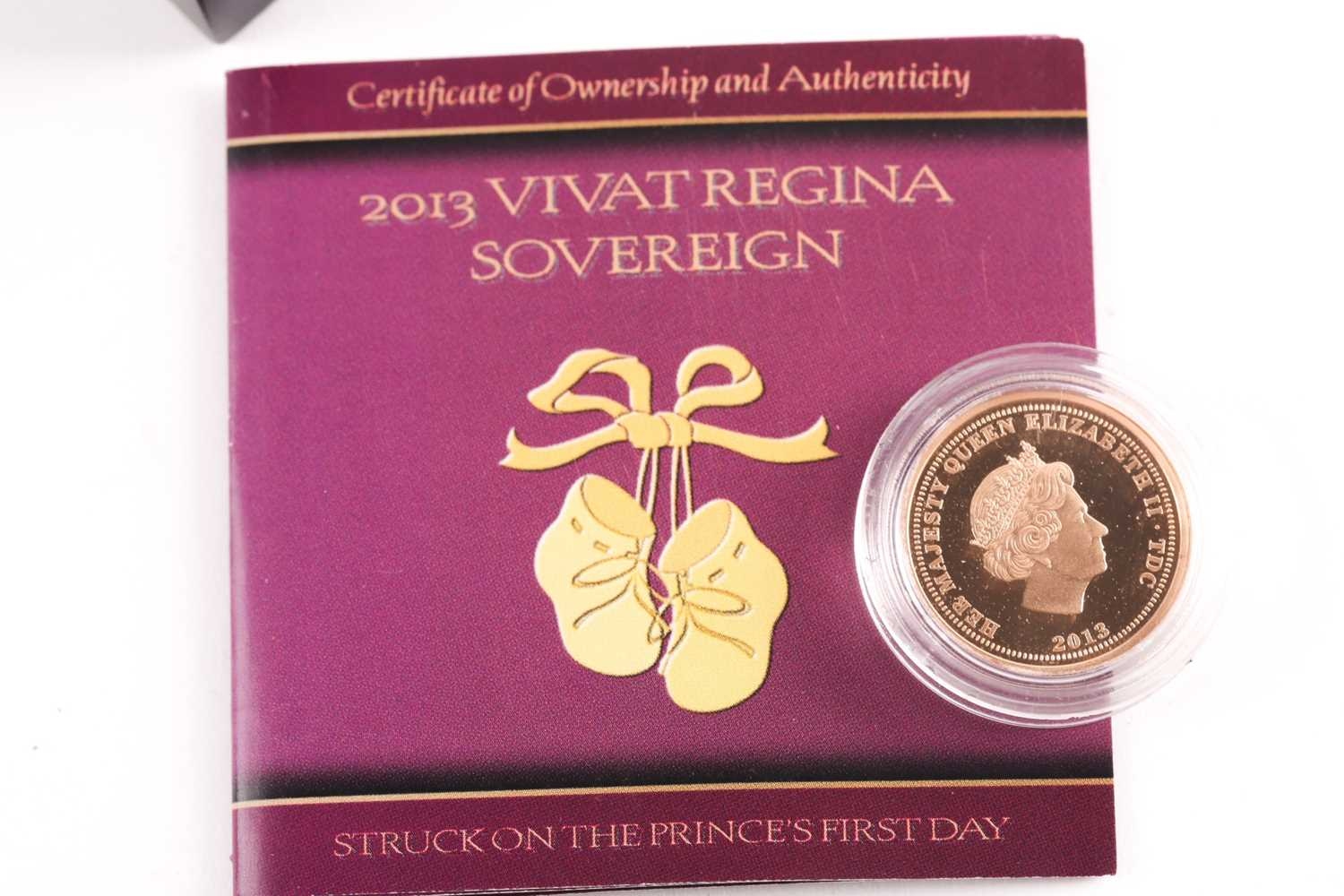 A 2013 Vivat Regina proof sovereign, London Mint Office, boxed, in a capsule and with certificate. - Image 4 of 4