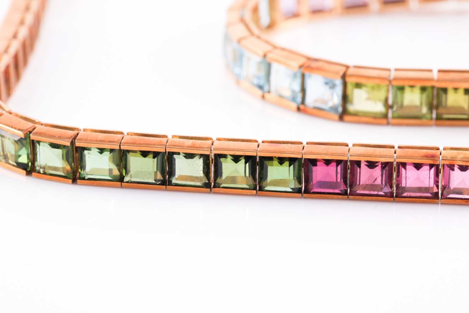 An 18ct yellow gold and multi-gemstone rainbow necklace, bracelet, and matching earrings, the - Image 4 of 4