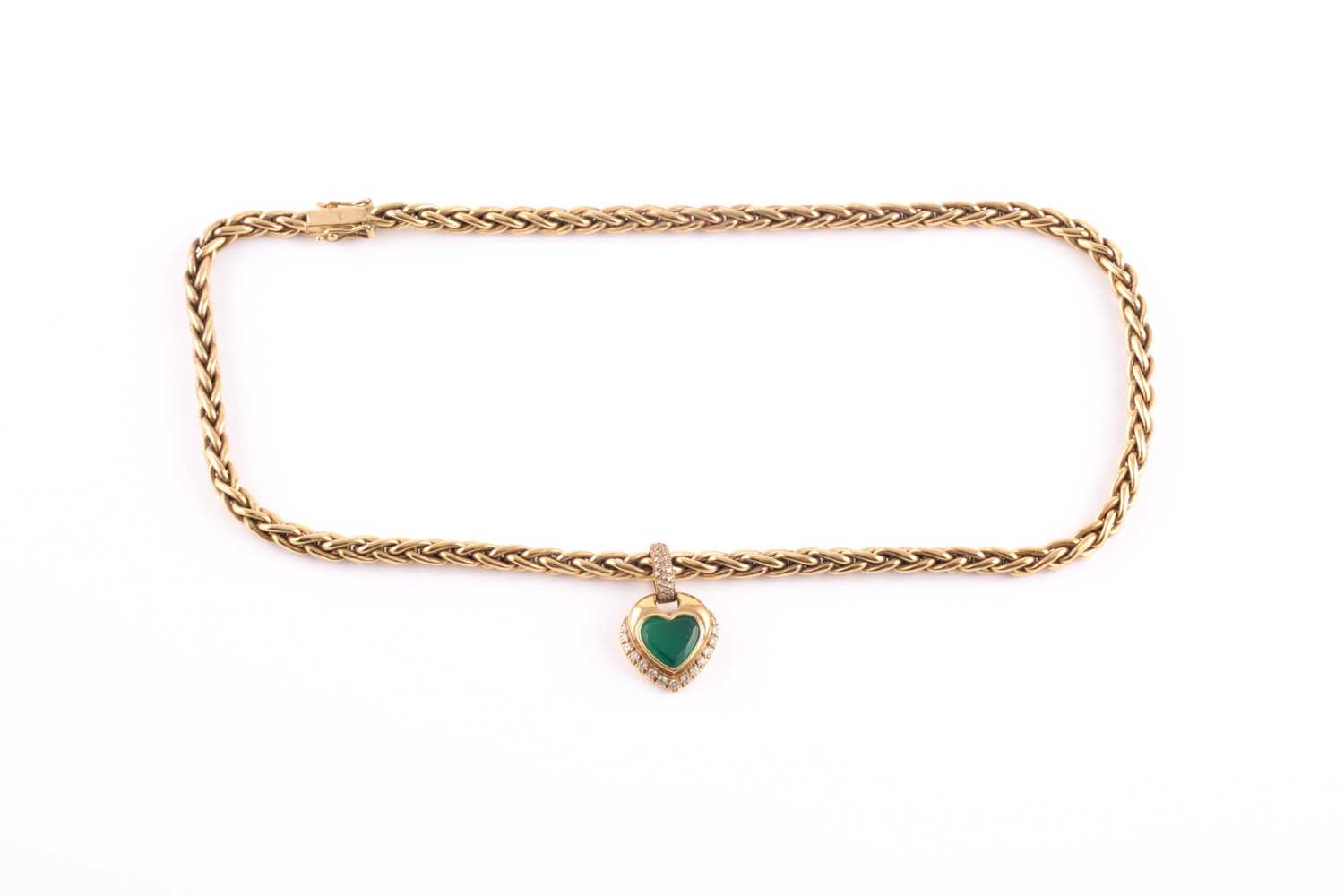 An 18ct yellow gold, diamond, and green stone heart-shaped pendant, with pave-set diamond suspension - Image 4 of 5