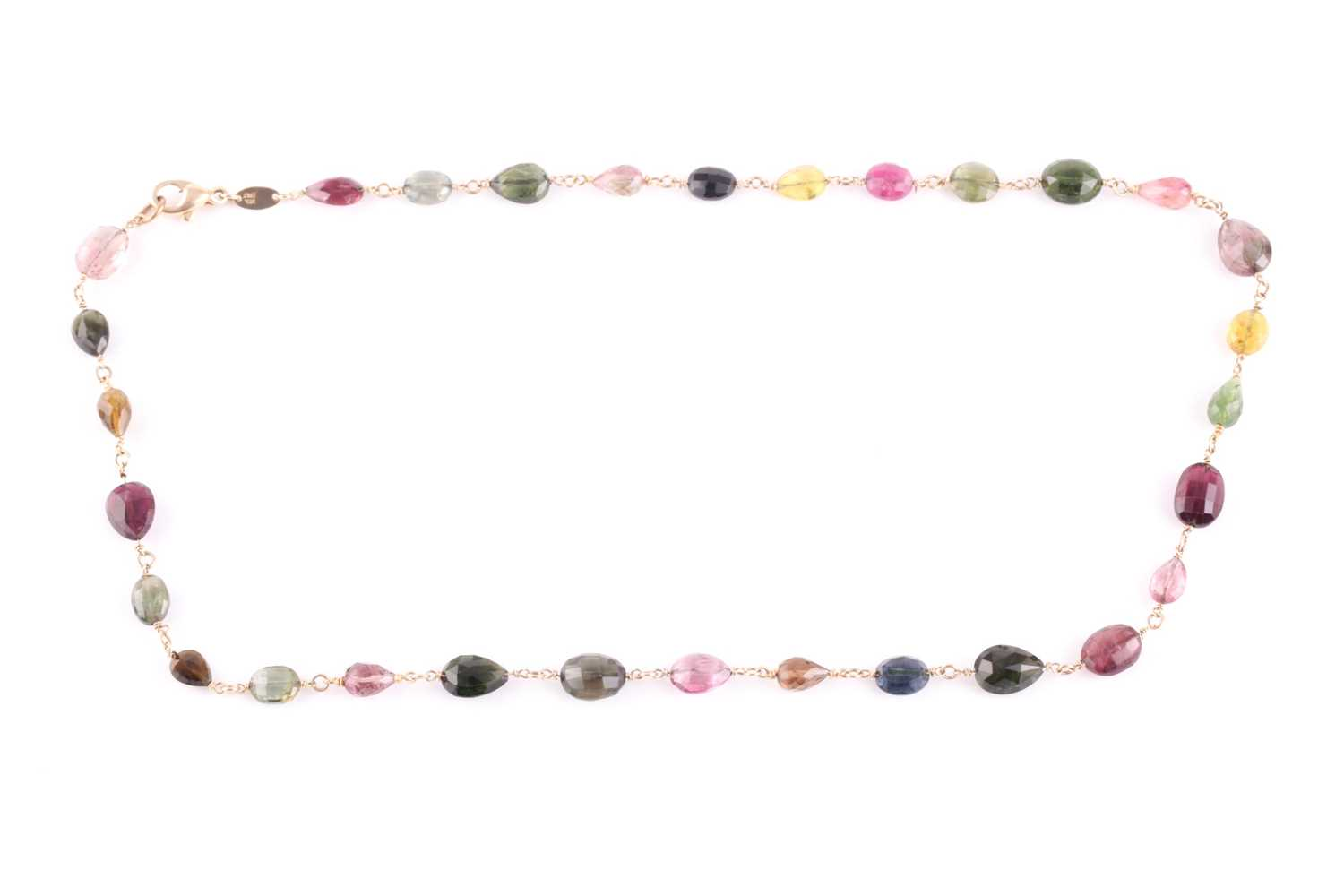 A 14ct yellow gold and varicoloured tourmaline necklace, comprised of briollete-cut pear, oval,