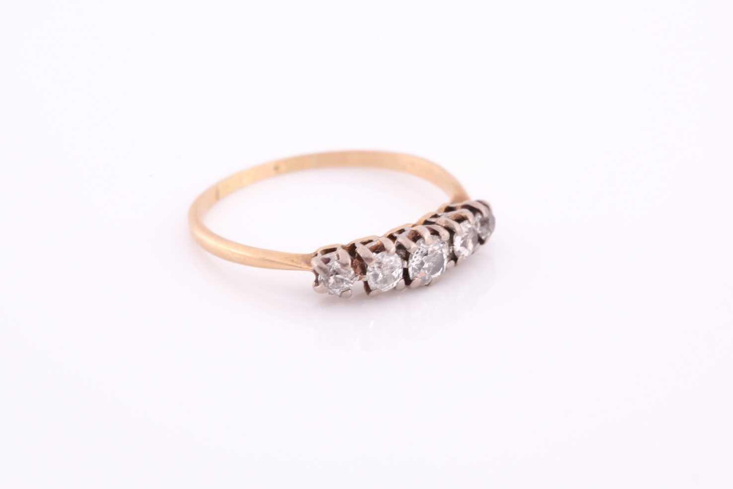 An 18ct yellow gold and diamond ring, set by five old-cut diamonds, the central stone of - Image 2 of 4