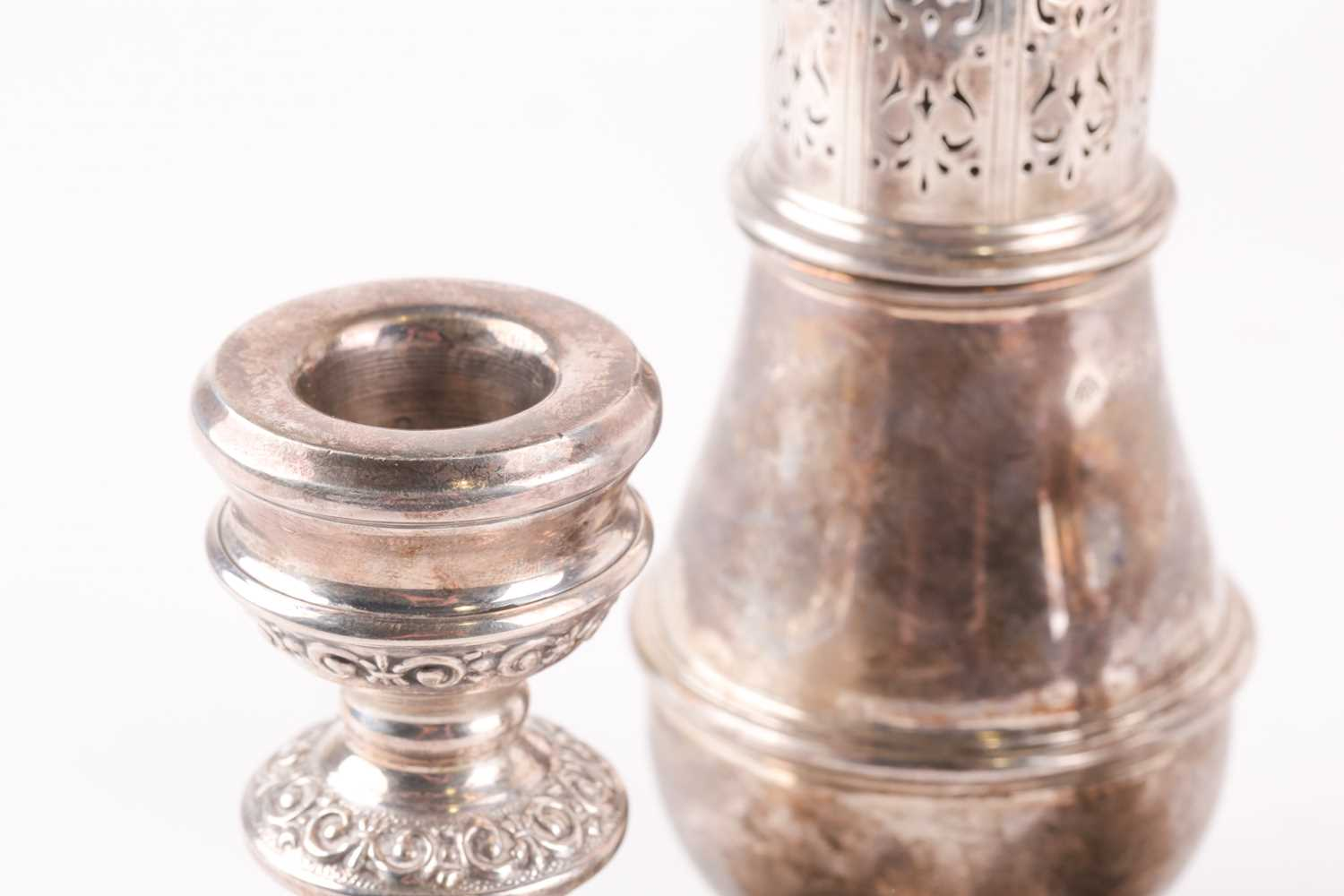A pair of 20th-century silver squat dressing table candlesticks with loaded bases. Probably - Image 4 of 5