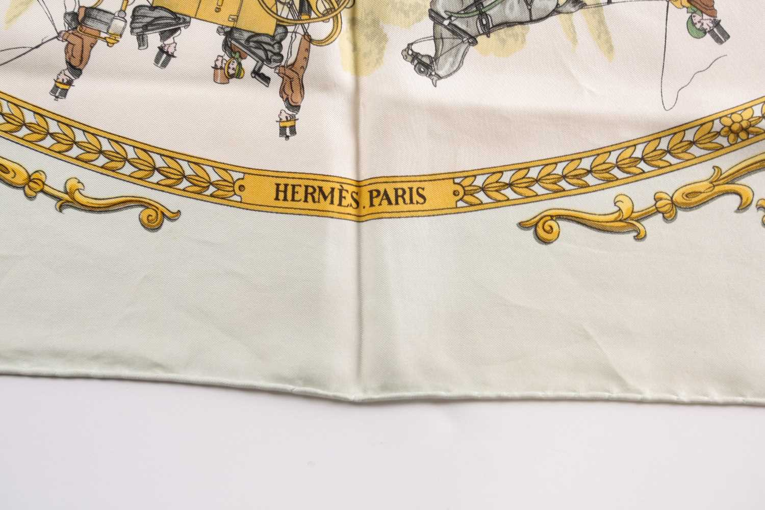 A Hermes silk square scarf printed with La Promenade De Longchamps pattern in yellow and tones of - Image 3 of 8
