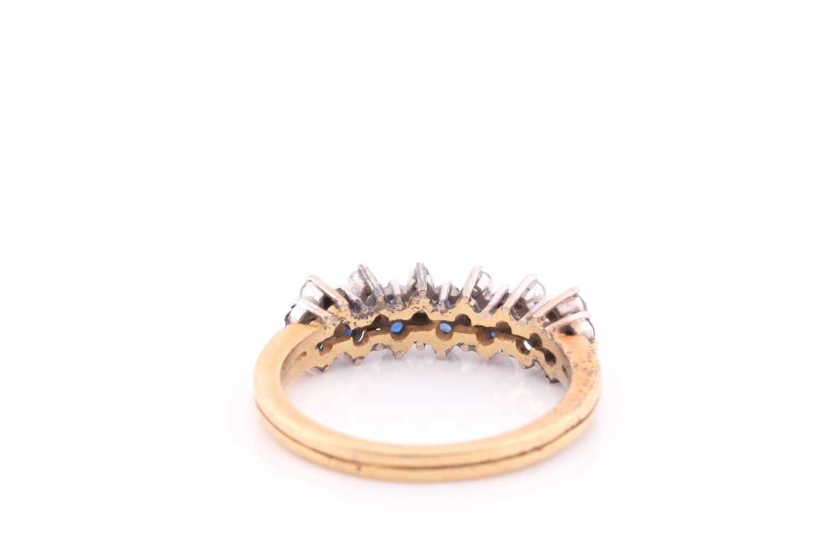 A sapphire and diamond half hoop ring; the round brilliant cut diamonds and circular cut sapphires - Image 3 of 4