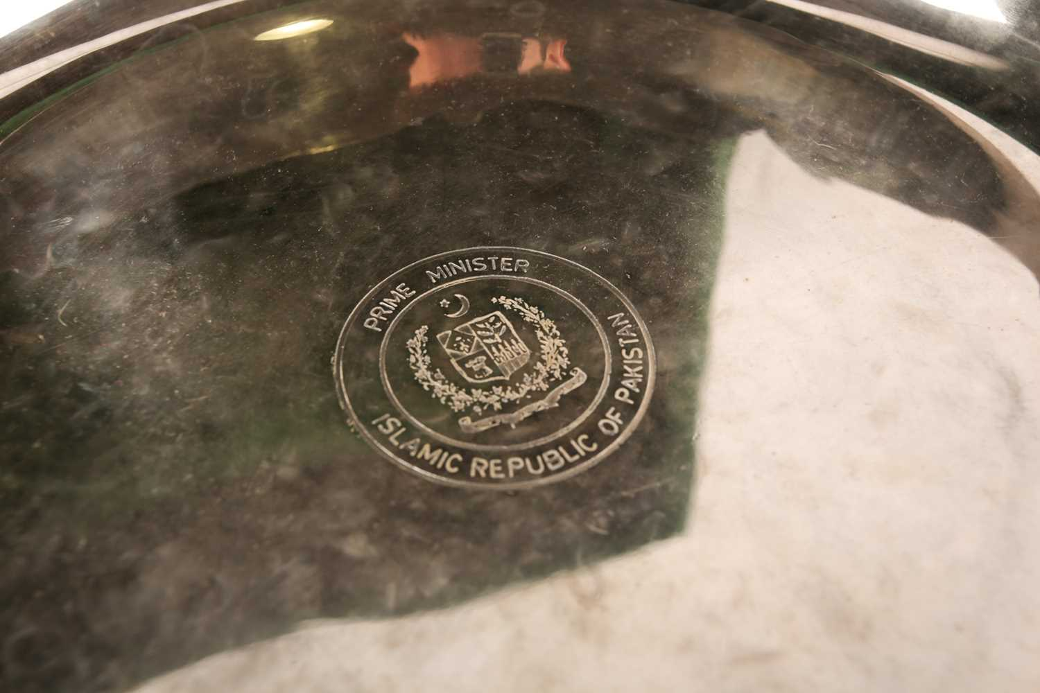 A large silver-plated presentation bowl, in fitted velvet case, 28 cm diameter, together with a - Image 5 of 5