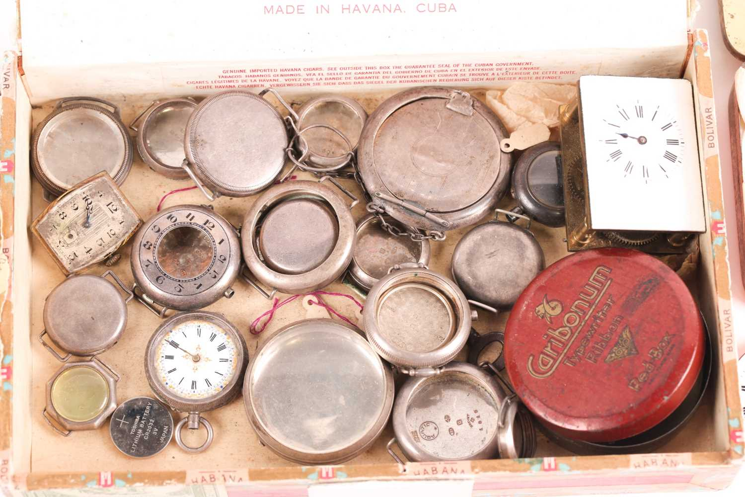 A quantity of watch and clock parts including a number of silver watch cases, several enamel dials - Image 4 of 5