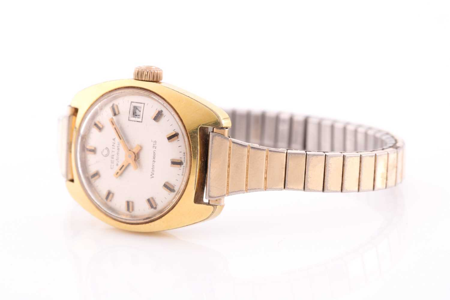 A lady's automatic mixed metal Certina wristwatch. Circular champage dial, baton numerals, date - Image 2 of 4