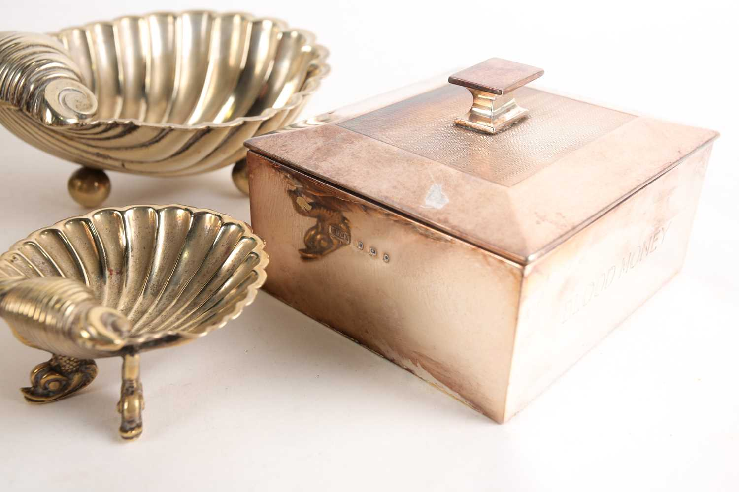 A large silver-plated presentation bowl, in fitted velvet case, 28 cm diameter, together with a - Image 3 of 5