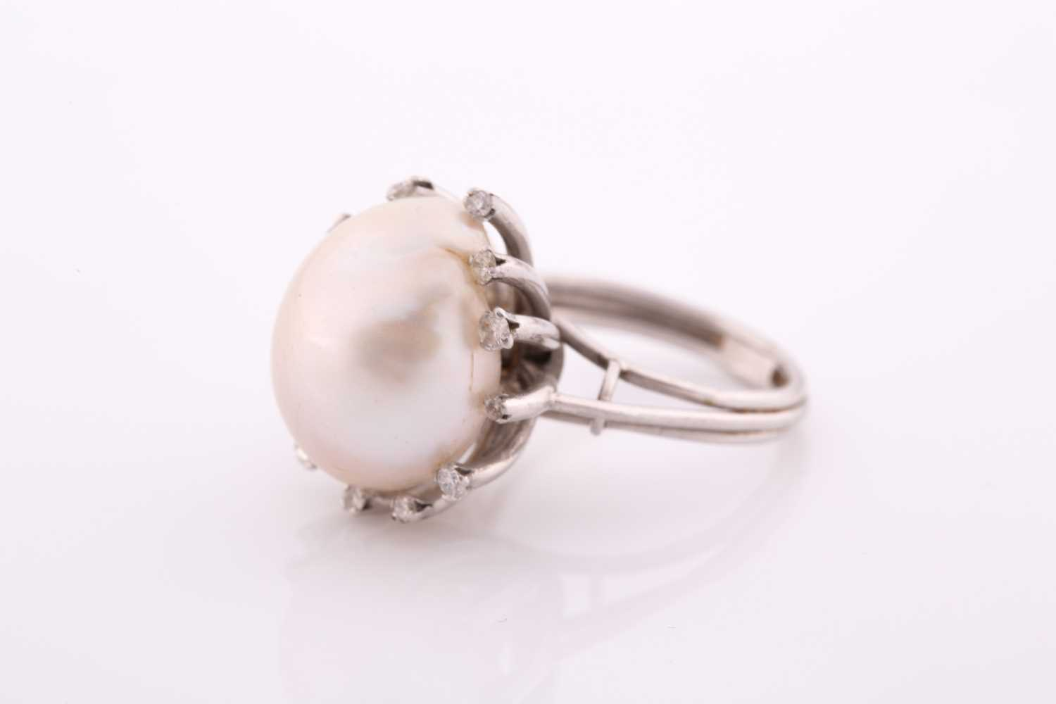 A diamond and cultured Baroque pearl cocktail ring, the pearl measuring approximately 1. 7x 1.35, - Image 5 of 5