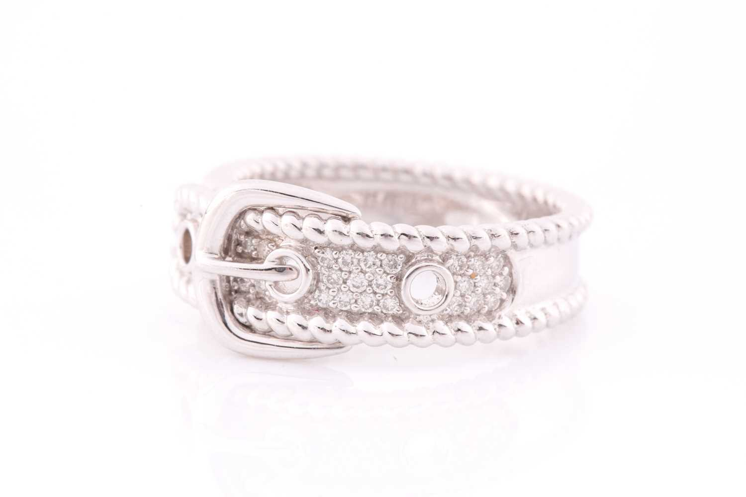 An 18ct white gold and diamond buckle ring, the mount pave-set with round brilliant-cut diamond - Image 2 of 5