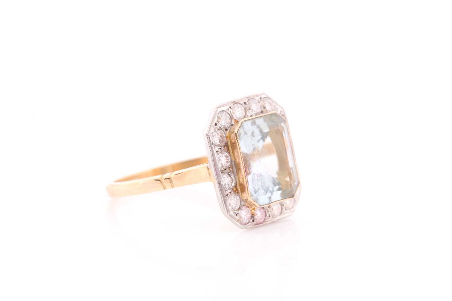 A diamond and aquamarine ring, set with an emerald-cut aquamarine of approximately 2.30 carats, - Image 2 of 4