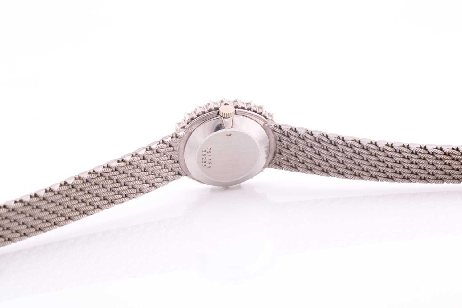 A white metal ladies Baume and Mercier wristwatch, the bezel set with round brilliant-cut diamonds - Image 3 of 3
