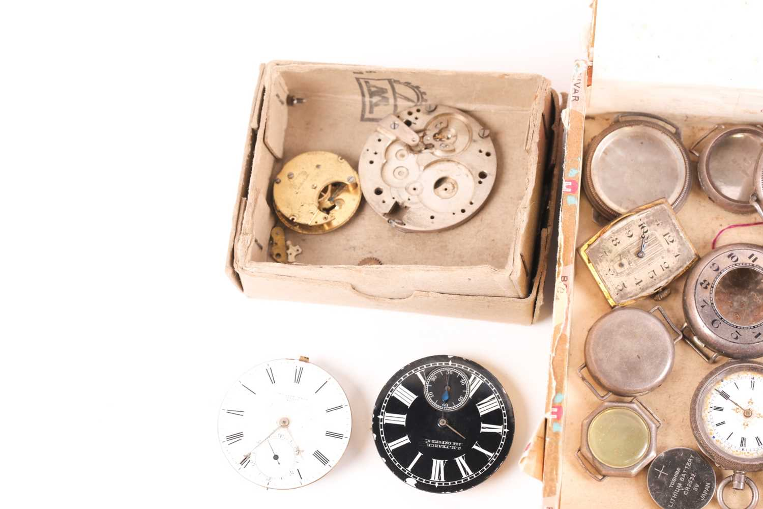 A quantity of watch and clock parts including a number of silver watch cases, several enamel dials - Image 2 of 5