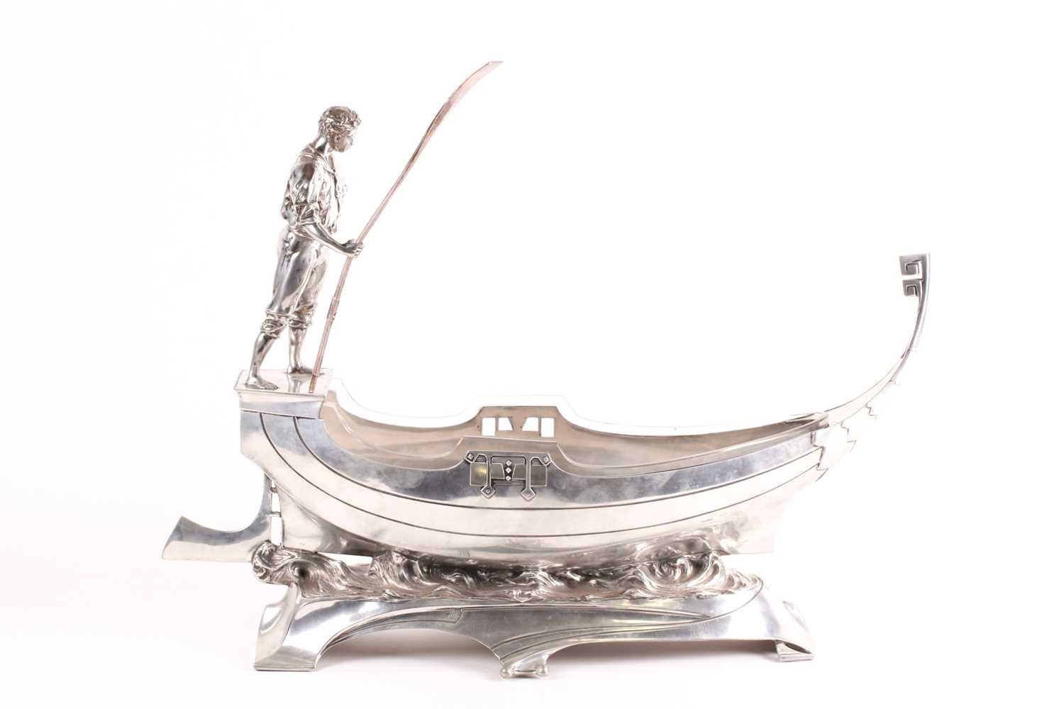 An Art Nouveau WMF centrepiece. In the form of a gondola with a gondolier to the rear holdng a pole; - Image 3 of 8