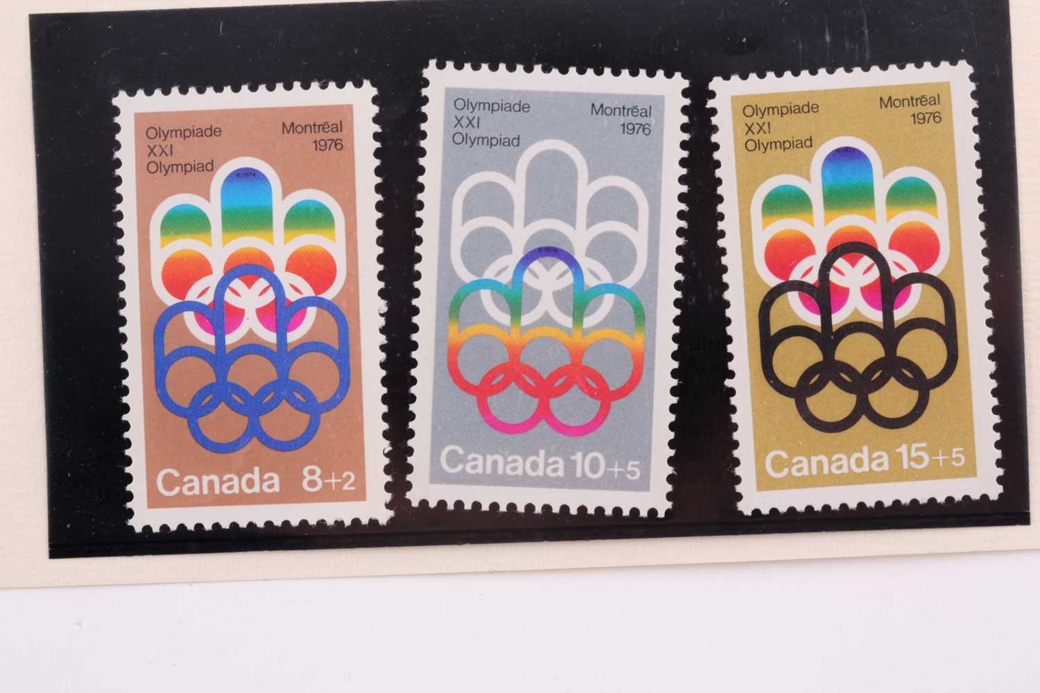 A cased set of three silver ingots, designed as stamps, in honour of the 1976 Summer Olympics, - Image 5 of 8
