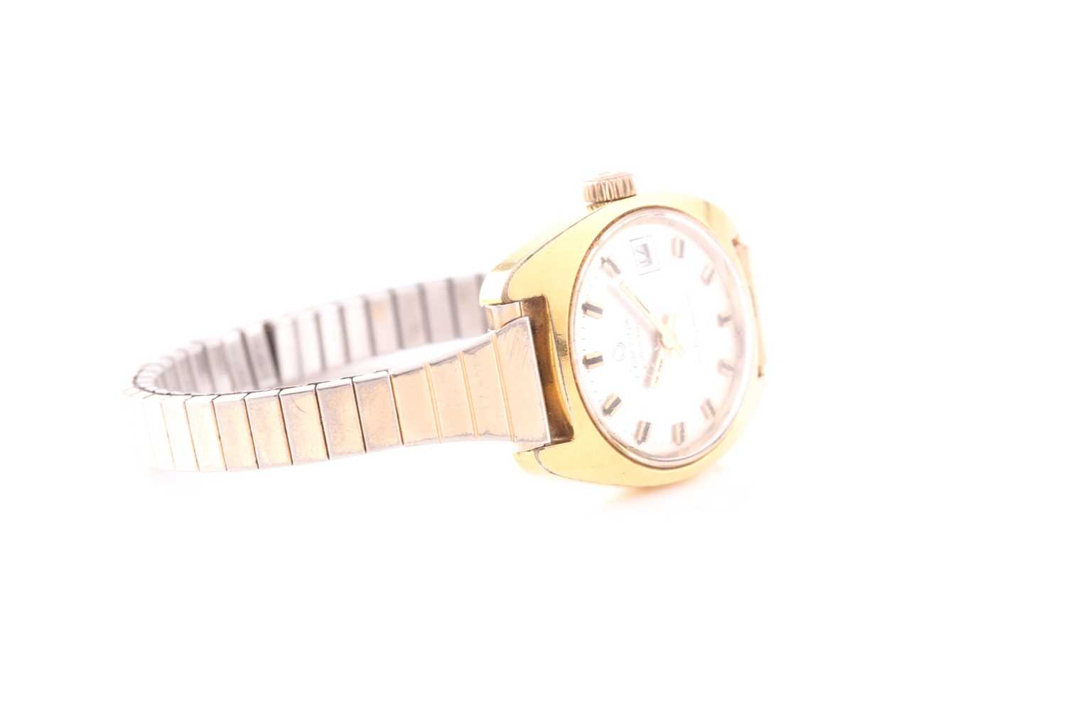 A lady's automatic mixed metal Certina wristwatch. Circular champage dial, baton numerals, date - Image 3 of 4