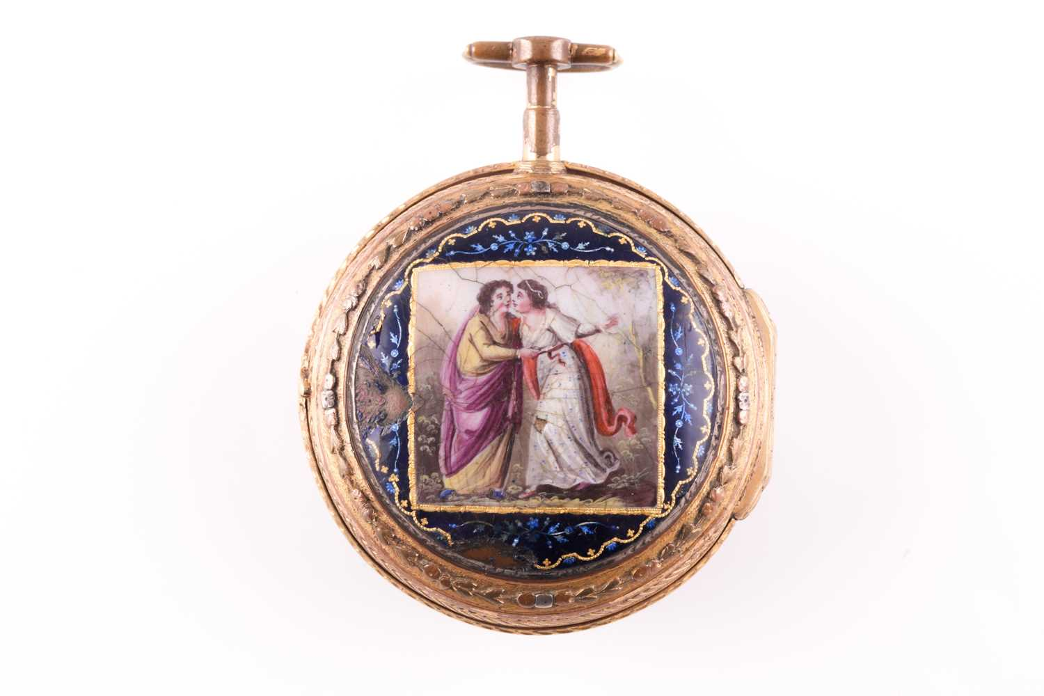 A Georgian gilt and enamel pocket watch by Bouvier of Geneve, the enamel dial painted with a lady - Image 2 of 8