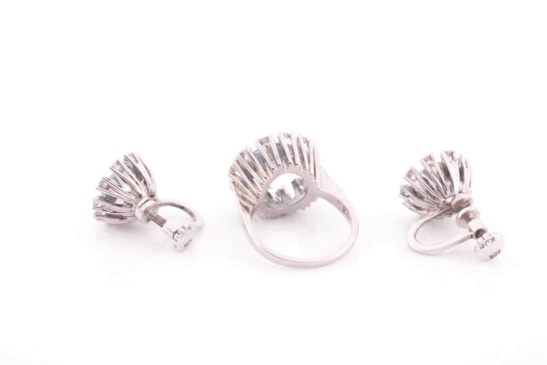 A white gold, diamond, and aquamarine ring, set with a round-cut aquamarine measuring - Image 3 of 4