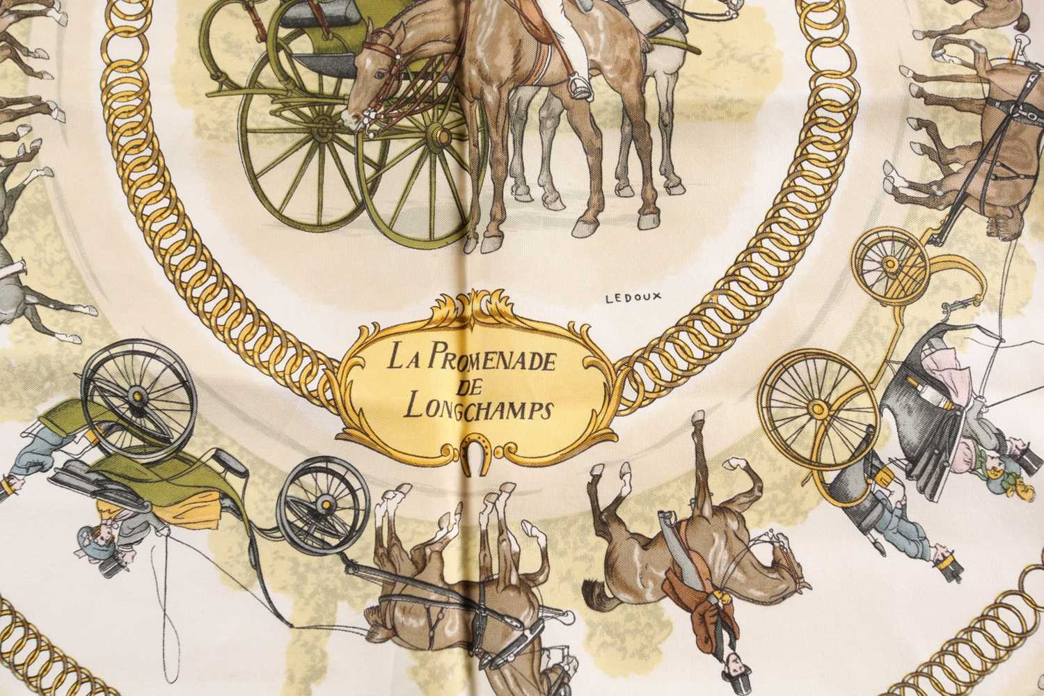 A Hermes silk square scarf printed with La Promenade De Longchamps pattern in yellow and tones of - Image 8 of 8