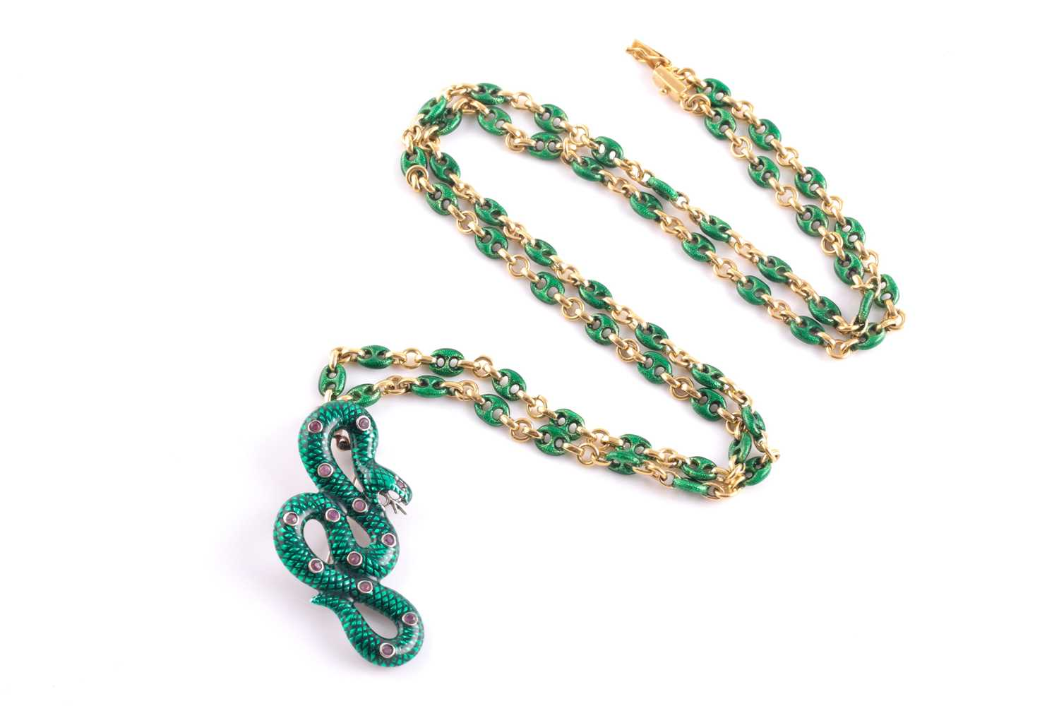 An 18ct yellow gold Continental anchor-link chain, alternated with plain and green enamel links, - Image 2 of 6