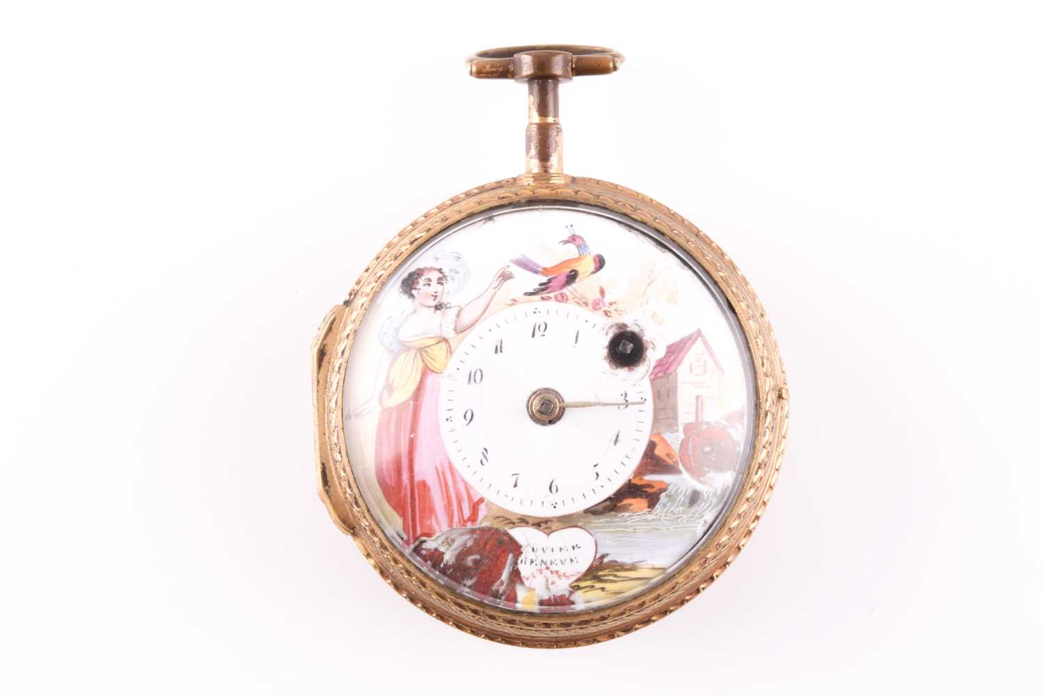 A Georgian gilt and enamel pocket watch by Bouvier of Geneve, the enamel dial painted with a lady - Image 3 of 8