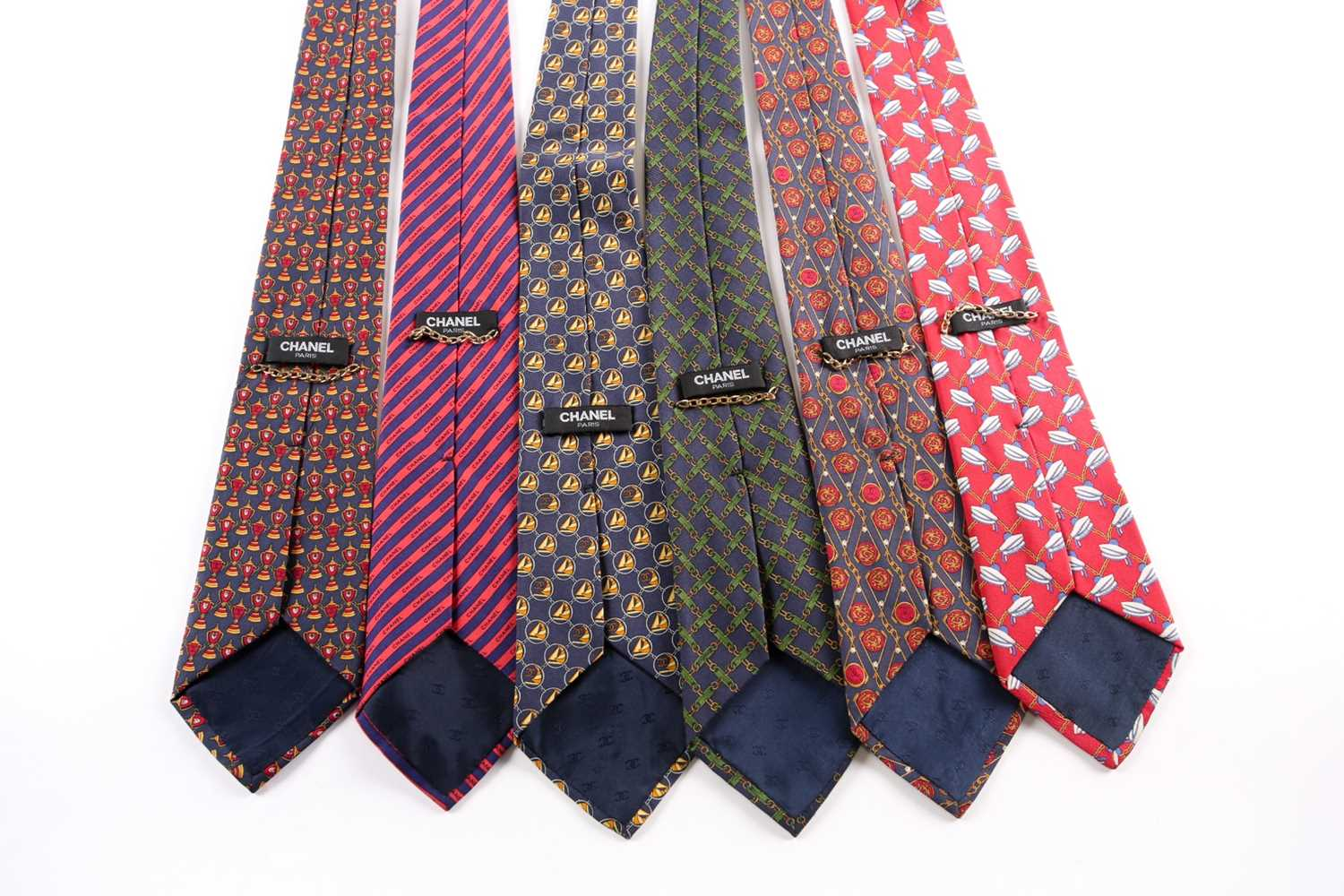 A group of seven Chanel ties, in various designs and colours. (7) - Image 2 of 2