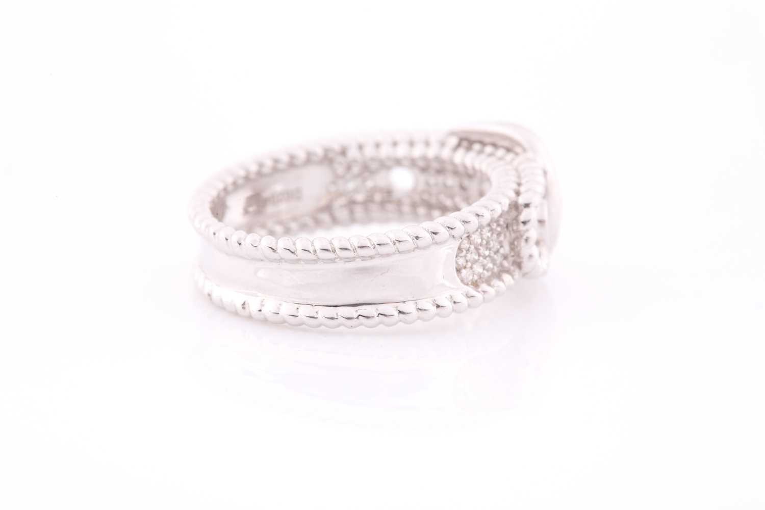 An 18ct white gold and diamond buckle ring, the mount pave-set with round brilliant-cut diamond - Image 5 of 5